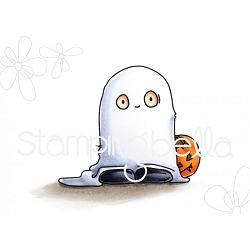 Stamping Bella - Cling Rubber Stamp - Squidgy Ghost Trick or Treater