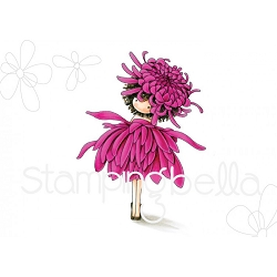 Stamping Bella - Cling Rubber Stamp - Tiny Townie Garden Girl Chrysanthemum