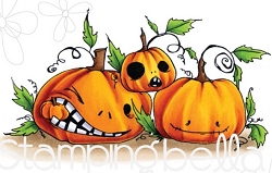 Stamping Bella - Cling Rubber Stamp - Oddball Naughty Pumpkins