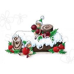 Stamping Bella - Cling Rubber Stamp - Teeny Tiny Townie on a Yule Log
