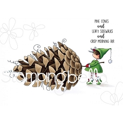 Stamping Bella - Cling Rubber Stamp - Teeny Tiny Townie with a pine cone