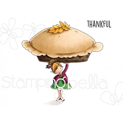 Stamping Bella - Cling Rubber Stamp - Teeny Tiny Townie with a Pumpkin Pie