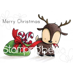 Stamping Bella - Cling Rubber Stamp - Reindeer with a Gift