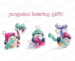 Stamping Bella - Cling Rubber Stamp - Penguins Bearing Gifts