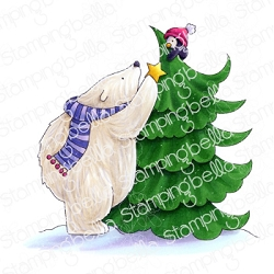Stamping Bella - Cling Rubber Stamp - POLAR BEAR and PENGUIN and the STAR