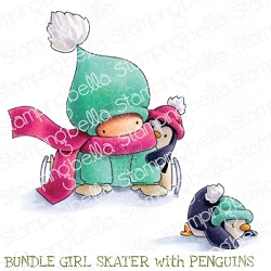 Stamping Bella - Cling Rubber Stamp - BUNDLE GIRL SKATER with PENGUINS