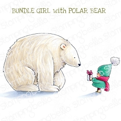 Stamping Bella - Cling Rubber Stamp - BUNDLE GIRL with POLAR BEAR