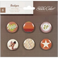 Studio Calico - Darling Dear Collection -  Self Adhesive Tin Badges 6/pkg - Icons