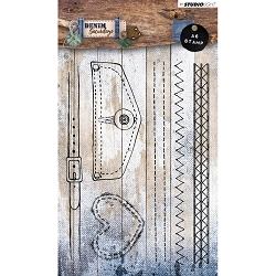 Studio Light - Denim Saturdays - Stitches, Belt & Pocket Flap Clear Stamp