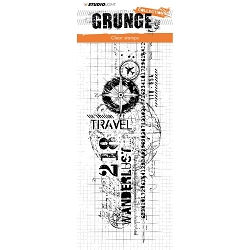 Studio Light - Grunge - Travel Collage Large Clear Stamp