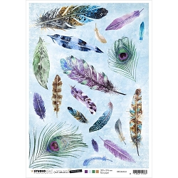 Studio Light - Jenine's Mindful Art - Colorful Feathers Rice Paper No. 34