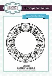 Sue Wilson Designs - Cling Mounted Stamp - Butterfly Circle