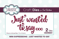 Sue Wilson Designs - Die - Mini Expressions - Just Wanted To Say