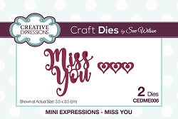 Sue Wilson Designs - Die - Mini Expressions - Miss You