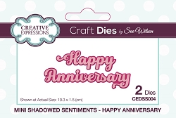 Sue Wilson Designs - Die - Mini Shadowed Sentiments - Happy Anniversary