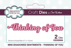 Sue Wilson Designs - Die - Mini Shadowed Sentiments - Thinking of You