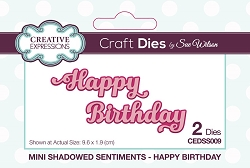 Sue Wilson Designs - Die - Mini Shadowed Sentiments - Happy Birthday