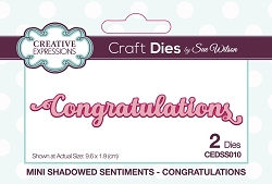 Sue Wilson Designs - Die - Mini Shadowed Sentiments - Congratulations