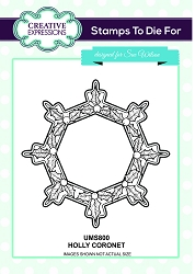 Sue Wilson Designs - Cling Mounted Stamp - Holly Coronet