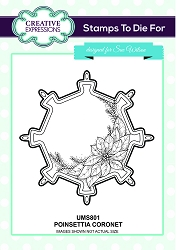 Sue Wilson Designs - Cling Mounted Stamp - Poinsettia Coronet