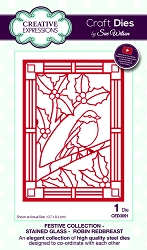 Sue Wilson Designs - Die - Festive Collection Stained Glass - Robin Redbreast