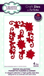 Sue Wilson Designs - Die - Festive Collection Poinsettia Flourish & Corner