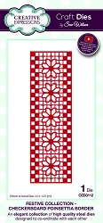 Sue Wilson Designs - Die - Festive Collection Checkerboard Poinsettia Border