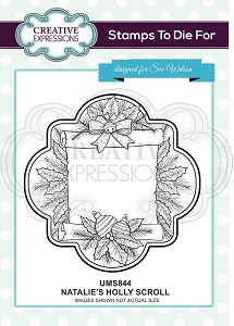 Sue Wilson Designs - Cling Mounted Stamp - Natalie's Holly Scroll