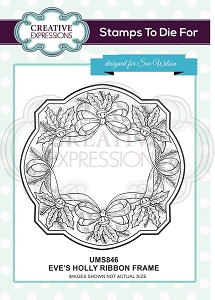 Sue Wilson Designs - Cling Mounted Stamp - Eve's Holly Ribbon Frame