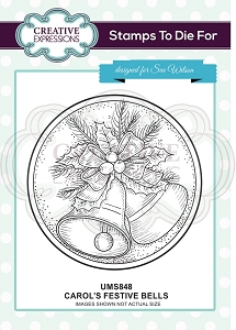 Sue Wilson Designs - Cling Mounted Stamp - Carol's Festive Bells