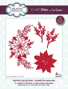 Sue Wilson Designs - Die - Festive Collection Poinsettia Garland