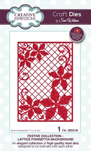 Sue Wilson Designs - Die - Festive Collection Lattice Poinsettia Background