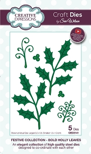Sue Wilson Designs - Die - Festive Collection Bold Holly Leaves