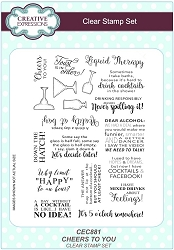 Sue Wilson Designs - Clear Stamp Set - Cheers to You