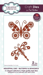 Sue Wilson Designs - Die - Industrial Chic Collection - Butterfly & Dragonfly