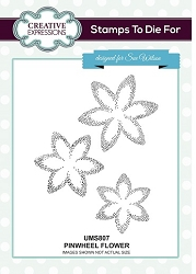 Sue Wilson Designs - Cling Mounted Stamp - Pinwheel Flower