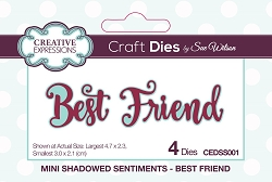 Sue Wilson Designs - Die - Mini Shadowed Sentiments - Best Friend