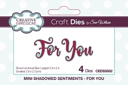 Sue Wilson Designs - Die - Mini Shadowed Sentiments - For You