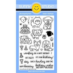 Sunny Studio - Clear Stamp - Party Pups