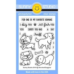 Sunny Studio - Clear Stamp - Devoted Pups