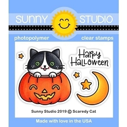 Sunny Studio - Clear Stamp - Scaredy Cat