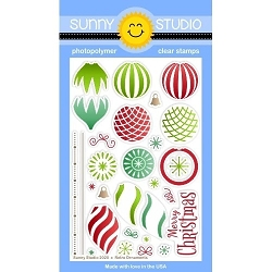 Sunny Studio - Clear Stamp - Retro Ornaments
