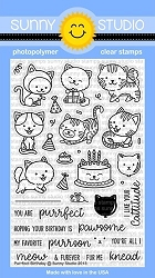 Sunny Studio - Clear Stamp - Purrfect Birthday