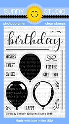 Sunny Studio - Clear Stamp - Birthday Balloon