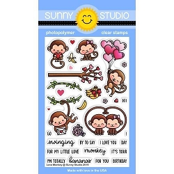 Sunny Studio - Clear Stamp - Love Monkey