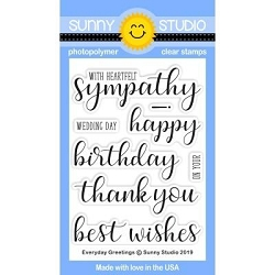 Sunny Studio - Clear Stamp - Everyday Greetings