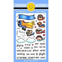 Sunny Studio - Clear Stamp - Plane Awesome