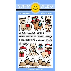 Sunny Studio - Clear Stamp - Alpaca Holiday