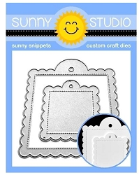 Sunny Studio - Cutting Dies - Scalloped Tag Square