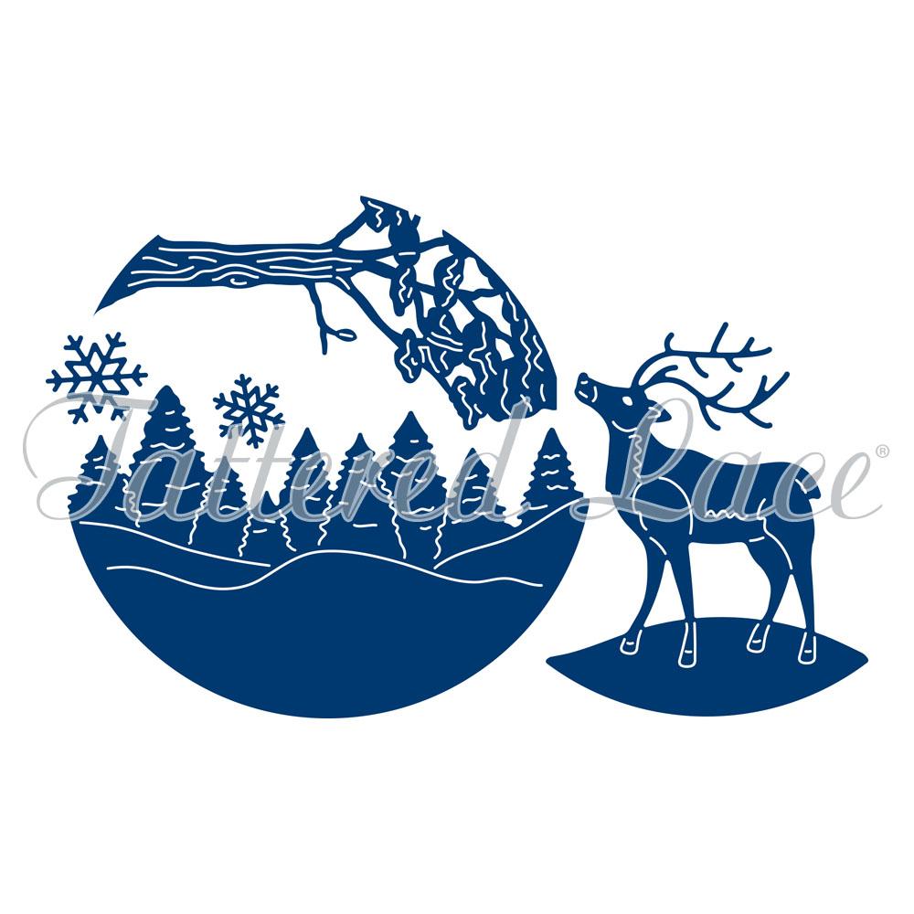 tattered lace dies essentials snowglobe reindeer scene set of 5